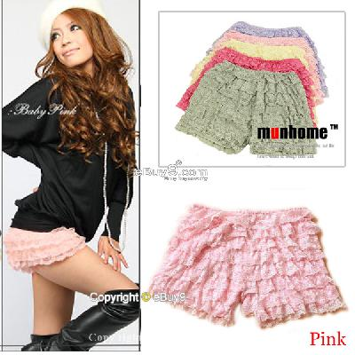 Women Girls Pink Sexy Lace Pleated Safety Short Mini Cake Skirt Pants Qun9w-Pink